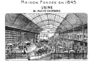 Picture of the warehouse/plant from a letterhead of an invoice from 1916. Bild des Lagers/Fabrik, aus einem Briefkopf einer Rechnung aus dem Jahre 1916. 61 Rue de Charonne, Paris.