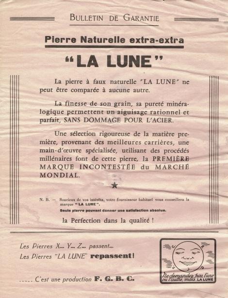 Bulletin de Grantie Pierre Naturelle Extra-Extra